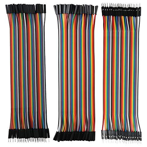 RUNCCI Jumper, Mehrfarbiger Dupont-Draht, 40-Pin-Stecker auf Stecker, 40-Pin-Stecker auf Stecker, 40-Pin-Stecker auf Stecker, 40-Pin-Stecker auf Stecker-Steckbrücken Jumper Drähte Ribbon-Kabel-Kit (Weiblichen Drähte Zu Jumper Männlichen)
