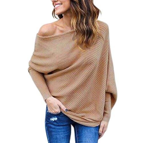 BAINASIQI Damen Elegant Langarm Schulterfrei Pullover Sweater Übergroß Strickpullover Bluse Tops Oberteil (S, Khaki)