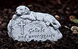 Grabschmuck Grabstein Hund Geliebt und unvergessen, frost- und wetterfest bis 30°C, massiver Steinguss