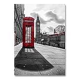 LIXB Poster di Paesaggio Torre di Parigi Cabina telefonica Rossa Immagine da Parete Picture Salon Poster @ 50x70cm