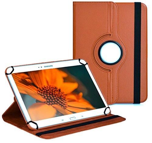 Premium Universal-Hülle für Tablet-PC Blaupunkt Discovery 1000C 10 ZOLL mit DREHFUNKTION und HALTER / STÄNDER-FUNKTION Schutz-Case Flip-Tasche Cover Braun