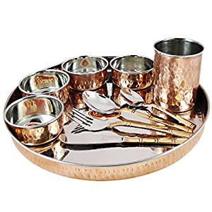 51 HspOWcuL. SS300  - SKAVIJ Tts1 Copper Dinnerware Plate Thali Set with Cup Bowls Spoons Fork and Knife, 33.7 Oz, 12 Inch (1000 Ml, Copper, Dia-12 Inch)