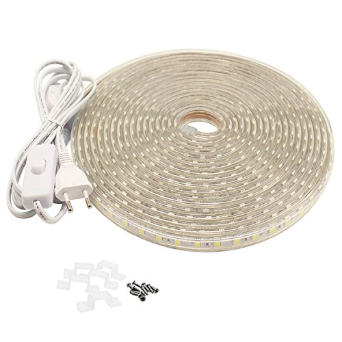 LED Streifen mit Schalter, 5050 IP65 Led Band, 230V, (20M, Warmweiß)