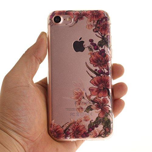 Custodia per iPhone 7 4.7,SKYXD Lusso Luminosa Brillante Strass Creativo Disegni Rainbow Cover Trasparente Silicone Antiurto Case per Apple iPhone 7 4.7 Case Custodia per iPhone 7 Glitter Moda Spina Retro Vite Fiore