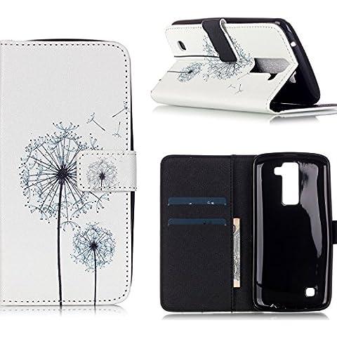ElecDay-Custodia in pelle a portafoglio con scomparti per carte di credito per LG K4 [denaro/carte (Owl Clip Di Carta)