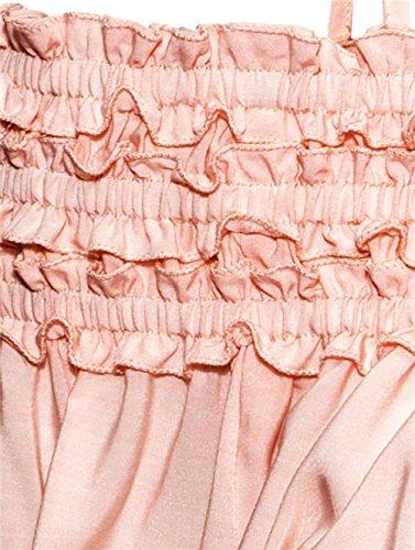 QIYUN.Z Col Bateau Hors epaule Femmes Dame Manches Longues Des Tops Amples Blouses Chemise Chaude Rose
