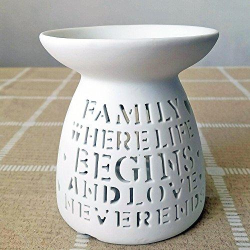 better-way weiß Keramik ätherisches Öl Wärmer Aromatherapie Öl Brenner Teelichthalter Wachserwärmer Home Deko Vase (Print Zeichen) (Wärmer Duftlampe)