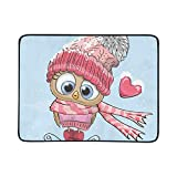 WYYWCY Cute Cartoon Owl Hat Sciarpa Modello Portatile e Pieghevole Coperta Mat 60x78 Pollici Handy Mat per Il Campeggio Picnic Beach Indoor Outdoor Travel