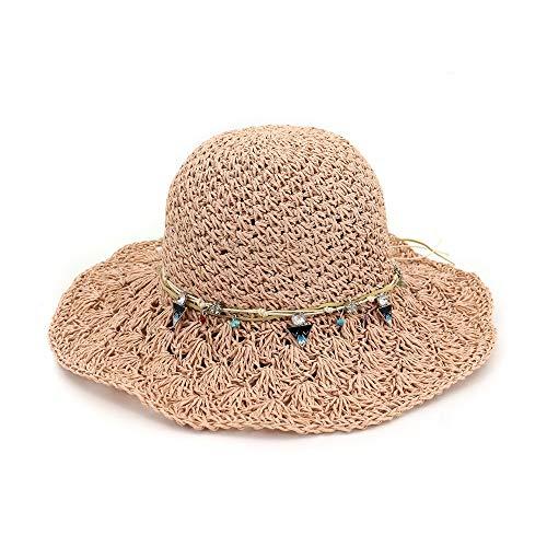 JIU-HAT Sonnenhut Sommerhut 100% handgemachte Frauen Stroh Eimer Hut Sommer Lady Dome Beach Sonnenhut (Farbe : Rosa, Größe : 56-58CM)