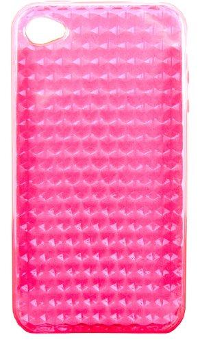 Luxburg® Elegante gepolsterte Pull Tab Stoff Schutzhülle Tasche Case für Apple iPhone 4 / 4S /4G - Grün Diamant - Rosa