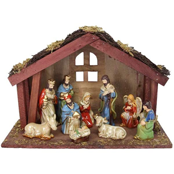 11 Piece Ceramic Nativity With Wooden Stable By Gisela Amazon Co Uk Kitchen Home