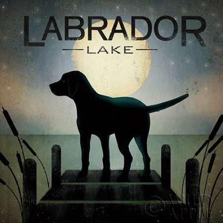 Feelingathome- imprimer-sur-toile-100%coton-Moonrise-Black-Dog---Lac-Labrador-cm28x28-affiche-reproduction-gravure-