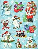 dpr. Fensterbilder Set 15-tlg. Eisbären Pinguine Weihnachtsmann Nikolaus u.a. zart beglimmert Weihnachten Advent Fensterdekoration