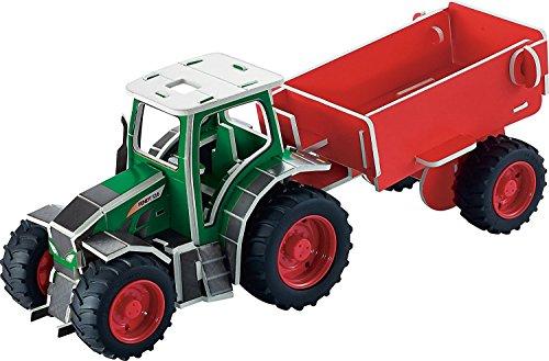 Tronico 30010 - 3D Puzzle Baukasten - Traktor Fendt 516 Vario mit Anhänger, Maßstab 1:32, grün, 63 Teile