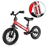 Besrey Laufräder Laufrad Mit Stoßdämpfern und 12-Zoll-Luftreifen. Der Griff und die Sitzhöhe sind einstellbar. 3-6 Jahre. (Rot)