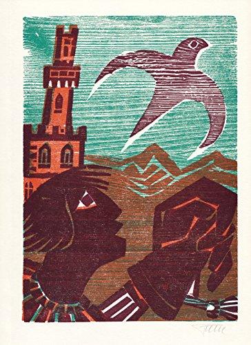 Dreifarben-Originalholzschnitt von Alfred Pohl zu einem Gedicht von Werner Bergengruen.
