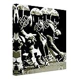 Bilderwelten Leinwandbild Schwarz-Weiß - American Football - Quadrat 1:1, 100cm x 100cm
