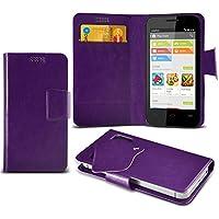 (Viola) Vodafone Smart 4 MiniG3 sottile Faux aspirazione del cuoio del rilievo del raccoglitore di caso della copertura della pelle con credito / carta di debito slot da parte Fone-Case