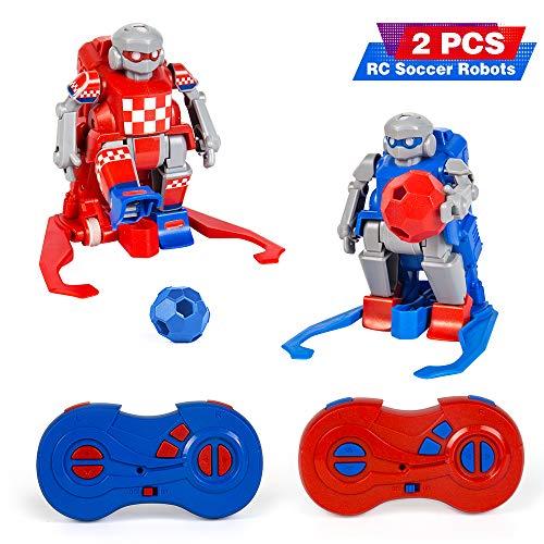 le-idea RC Fußball Roboter Spielzeug für Kinder - Ferngesteuerte Spielzeugroboter ab 3-9 Jahren - Zwei Soccerborg Roboter Toys mit Bällen, Fußballnetz und 6 Straßensperren