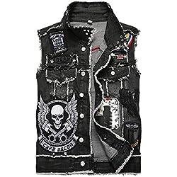 AIQIXING Motocicleta Denim Chaleco Punk Chaleco-algodón-Hombre cráneo Caballero Muerte diseño de Bordado-Adecuado para la conducción de la Locomotora de los Hombres y el Uso Diario,Black,L