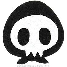 [truco o trato. Happy disfraz de Halloween] calavera Ninja (blanco, negro)–hierro en parche bordado–de lana de troquelado, diseño de regalo, recuerdo, # Japón Katana Shuriken Naruto Cartoon muerte robar ladrón