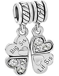 Argent Sterling 925/1000 Gros/Little Sister Sis Lil pendantes trèfle en forme de cœur pour Bracelets de type Pandora avec Bracelets européens