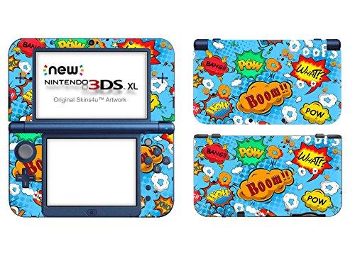Skins4u Nintendo NEW 3DS XL Skin Aufkleber Skin Folie Design Sticker komplett Set Schutzfolie – Comics Blue