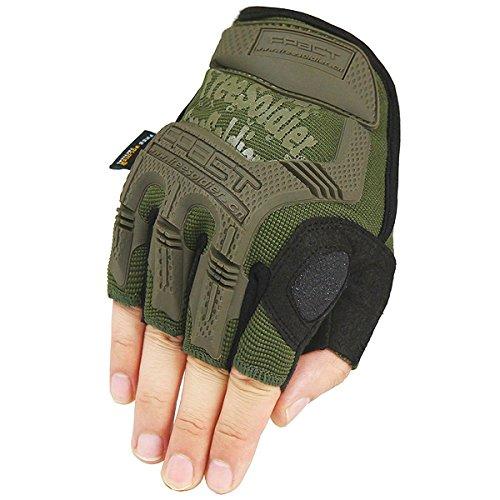 Free Soldier Halbfinger-Fahrradhandschuhe für Herren, für Sport/Camping/Klettern/Training/Wandern/Aktivitäten im Freien, Fingerlose Handschuhe M armee-grün