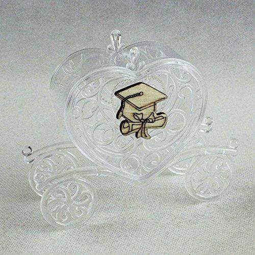 Dlm26668 (kit 12 pezzi) carrozza portaconfetti cuore in plexiglass con cappello e pergamenta laurea segnaposto bomboniera