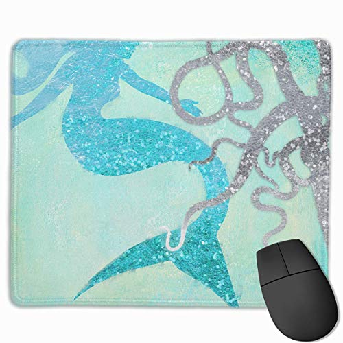ASKSWF Mouse Pad Beautiful Mermaid Octopus Turquoise Sea Art Gaming Mouse Pad with Stitched Edges Personalized Design