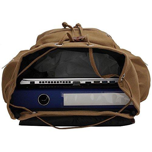 TrendStar Koolertron Rucksack SchultertascheKunstleder Schultertasche Damen Herren Camping Rucksack Rucksäcke Tasche für Laptop (A - Blau) kakifarbigen 2