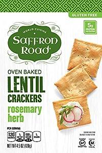Saffron Road - Oven Baked Lentil Crackers Rosemary Herb 4.5 Oz. 182905