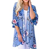 Oyedens® Damen Florale Kimono Cardigan Strand Chiffon Bluse Tops Bikini Cover Up/Damen Blumenmuster Strickjacke Cardigan Langarmshirt Lose Oberteil Mantel Jacke (L, Blau)