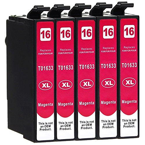 5 Druckerpatronen kompatibel zu Epson 16-XL / T1623 / T1633 (Magenta) passend für Epson WorkForce WF-2010 WF-2500 WF-2510 WF-2520 WF-2530 WF-2540 WF-2630 WF-2650 WF-2660 WF-2700 WF-2750 WF-2760