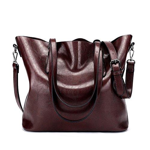 Damen Vintage Schultertasche Leder Cross Body Messenger Bags Für Frauen Handtaschen Reisen Mädchen Satchel Aktentasche Crimson