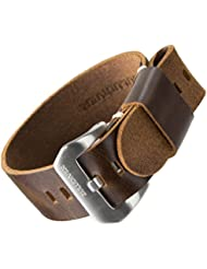 Bracelet de montre ZULUDIVER® cuir véritable USM NATO Marron foncé 22mm