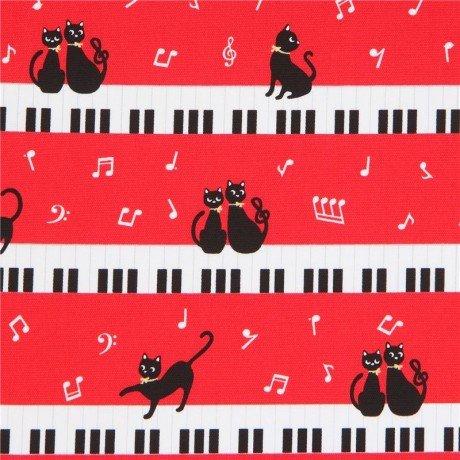 Tela oxford roja con lindo gato piano tecla nota musical de Japón