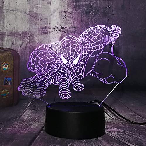 Guo Spiderman 3D-Nachtlicht - Marvel-Modell Kreatives Nachtlicht - Kreatives Geschenk - Acrylmaterial - 3D-Tischlampe - Beste Wahl Für Freunde - Mehrere Farben Können Ihre Schönheit Aufhellen -