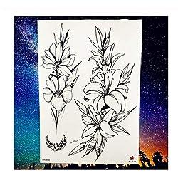 SDEFGH Etiqueta engomada del tatuaje Decoraciones Niños Niñas NiñosCamellia Rose Flor de Ciruelo Hojas Margarita Temporal Negro s Chica Tatoo Paste r