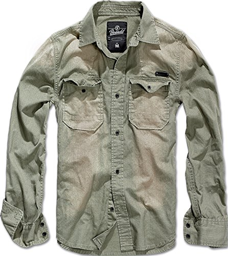 Brandit Hardee Denim Shirt Oliv-Grau - XXL