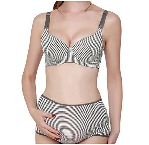 CuteRose Women's Trim-Fit Striped Pregnant Adjustable Bra and Panty Grey 38C Striped Lace Trim
