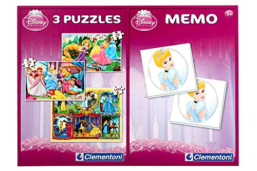 Disney Princess 2-in-1 Memory mit 48 Karten (24 Paare) + 3 Puzzle ( 2x20er + 1x100er )
