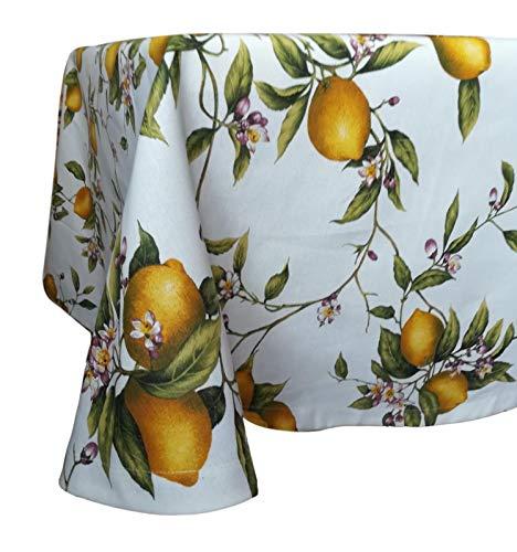 Ricami fiorentini tovaglia in spesso cotone 100% panama, colore vivace, rifinitura a orlo dritto. anche su misura. prodotto artigianale toscano. (limoni, rettangolare 160x320)