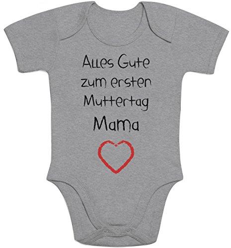 Alles Gute zum ersten Muttertag Mama Herz - Baby Geschenk für Mutter Baby Strampler Body Kurzarm 6 - 12 months Grau