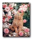 YISUMEI Hem Gewichte Vorhang Duschvorhang Anti-Schimmel Duschvorhangringe Wasserabweisender 200x180 cm Nette Katze La Perm Rosen