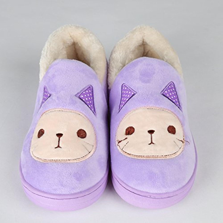 Y-Hui Super Soft Zapatillas casa piso caliente amantes zapatos zapatillas de algodón,Thirty-Nine,violeta