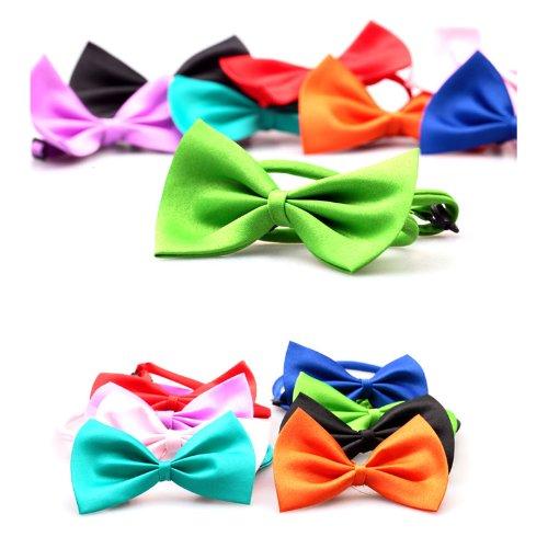 HuntGold reizende nette Random Farbe Mini Bow Tie Krawatte Halsband für Hund Katze Haustier (Packung mit 2:zufällig Farbe) (Farbe-krawatte Tragen)