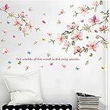 WandSticker4U- XL Wandtattoo'Pfirsichblüte' in Pastellfarben | Wandbild: 140x86 cm | Vögeln Wandsticker Kirschblüte Rosa Blumen Aufkleber Zweig Pflanzen | Deko Wohnzimmer Schlafzimmer Küche