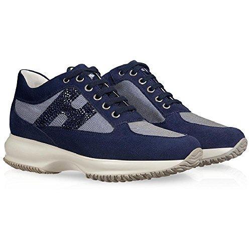 Hogan Interactive Frauen Trainer in blue suede Strass - Modellnummer: HXW00N020118SJU800 Blau