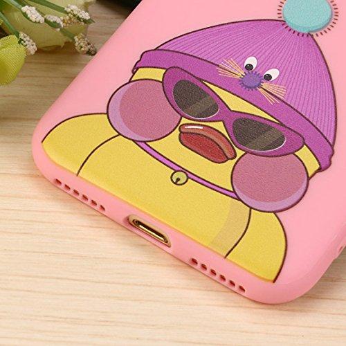 Cover per iPhone 7, Tpulling Custodia per iPhone 7 Case Cover Gli animali neri svegli del fumetto dellanimale 3D coprono la cassa molle del silicone per IPhone 7 4.7 pollici (Pink) Pink